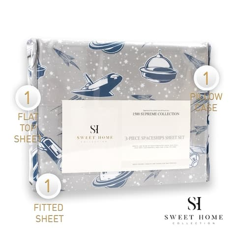 Spaceships Sheet Set by Sweet Home Collection - Multi