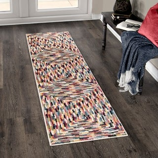 Orian West Village Concentric Border Red/Multicolored Runner Rug - 2'3 x 8'