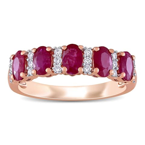 Miadora 14k Rose Gold Oval-Cut Ruby and 1/6ct TDW Diamond Anniversary Band