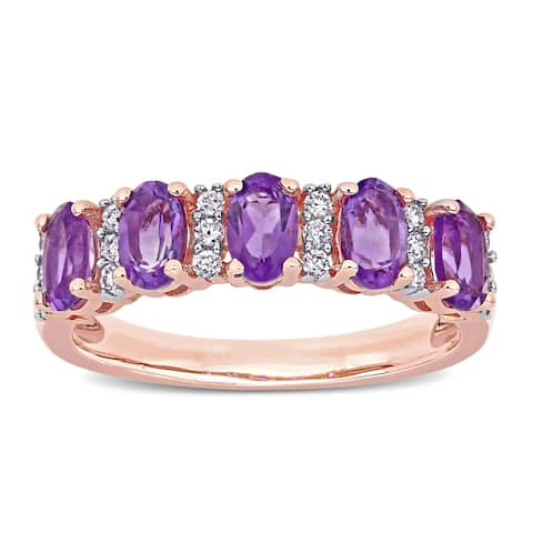 Miadora 14k Rose Gold Oval-Cut African-Amethyst and 1/6ct TDW Diamond Anniversary Band