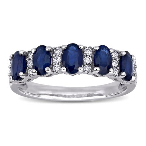 Miadora 14k White Gold Oval-Cut Blue Sapphire and 1/6ct TDW Diamond Anniversary Band