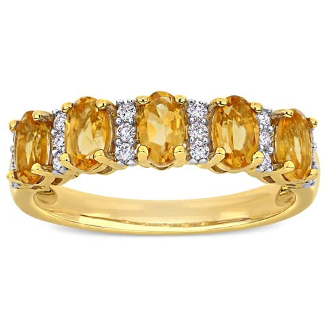 Miadora 14k Yellow Gold Oval-Cut Citrine and 1/6ct TDW Diamond Anniversary Band