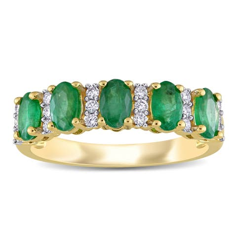 Miadora 14k Yellow Gold Oval-Cut Emerald and 1/6ct TDW Diamond Anniversary Band