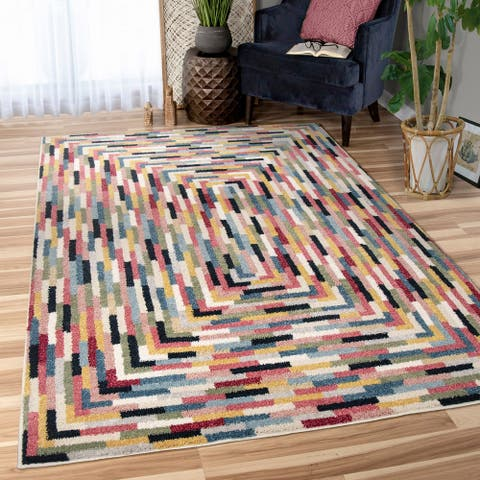 "Orian West Village Concentric Border Multi Area Rug (7'10"" x 10"") - 7'10"" x 10'"