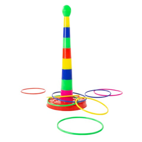 Ring Toss Game- Colorful Adjustable Stacking Skill and Coordination Carnival Toy for Kids and Family Fun by Hey! Play! - Multi