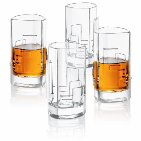 JoyJolt Revere Shot Glasses, Triangle Heavy Base 2 Oz Glass Set of 4
