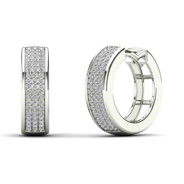 ac4940951b9d7 Shop AALILLY 14K White Gold 1/4ct TDW Diamond Hoop Earrings (H-I, I1 ...