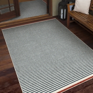 Orian Veranda Blue Ocean Stripe Area Rug - 5'2 x 7'6