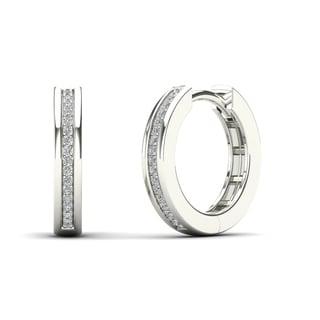 AALILLY 14K White Gold Diamond Accent Hoop Earrings (H-I, I1-I2)
