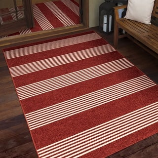 Orian Veranda Portsmouth Red Area Rug - 6'6 x 9'6