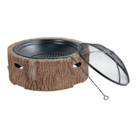 Martha Stewart MTS-FP35-FB 35 In Cast Stone Base,Wood Burning Fire Pit w/ 26 In Mesh Spark Guard Screen,Log Poker