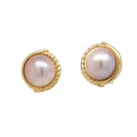 14K Yellow Gold Vintage Mabe Pearl Earrings