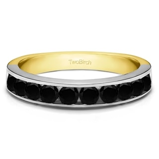 10k Gold 10 Stone Straight Channel Set Wedding Ring With Black Diamonds 0 75 Cts Twt