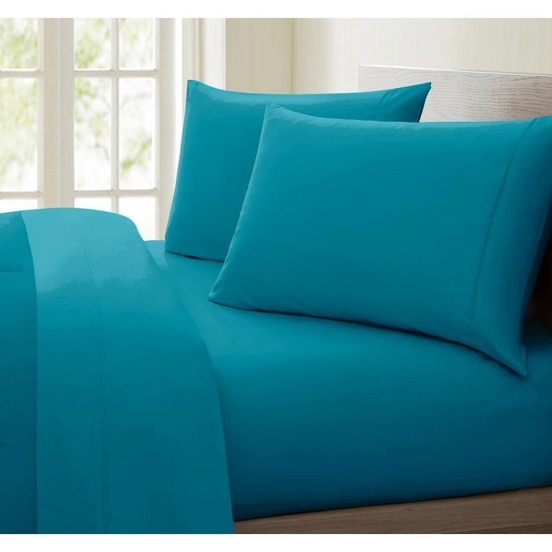 Extra Deep Pocket Bed Sheet Set 4 PCs Navy Blue Solid Cotton 1000-TC All Size