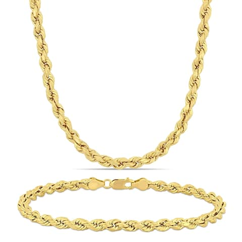 Miadora 10k Solid Yellow Gold Rope Chain Necklace and Bracelet Set (5 MM)