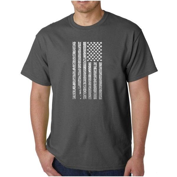 Mens Word Art T-shirt - National Anthem Flag