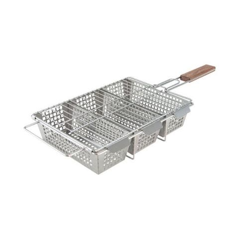 Charcoal Companion 3-Compartment Grill Basket Stainless Steel