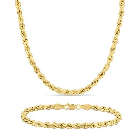 Miadora 14k Solid Yellow Gold Rope Chain Necklace and Bracelet Set (4 MM)