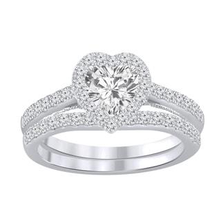 Link to Auriya 1 1/2ctw Heart-cut Halo Diamond Engagement Ring Set 14k Gold Similar Items in Wedding Rings