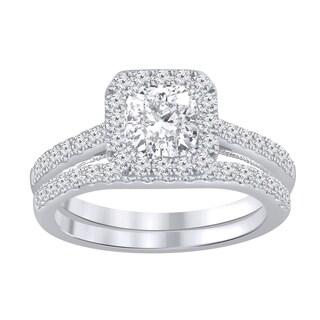 Auriya 14k Gold 1 1 2ctw Cushion Cut Halo Diamond Engagement Ring Bridal Set