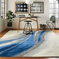 Nourison Twilight Ivory/Grey Blue Coastal Area Rug