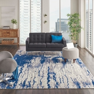 Nourison Twilight Ivory/Blue Abstract Area Rug