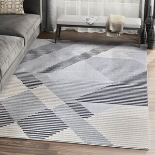Beige Grey Multi Shape Abstract Area Rug