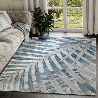 Blue Tropical Leaves Grey Blue Area Rug