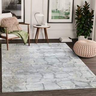 Abstract Marble Stone Grey Area Rug