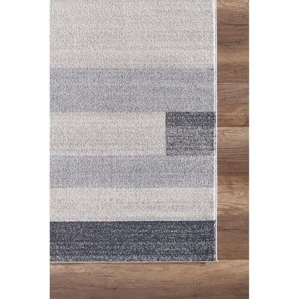 Grey Beige Geometric Tiles Area Rug Overstock 27880547