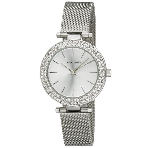 Laura Ashley Ladies Silver T-Bar Case Double Stone Bezel Mesh Band Watch - One size