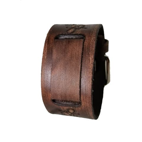 Nemesis Faded Dark Brown Embossed Flower Design Leather Watch Cuff Band DBVFB 20-22mm