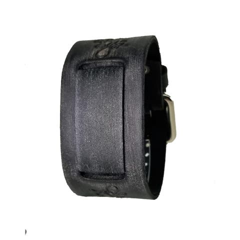 Nemesis Faded Black Embossed Flower Design Leather Watch Cuff Band VFB-K 20-22mm