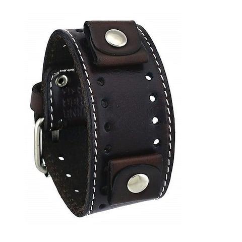 Nemesis Dark Single Stitched Leather Cuff Watch Band 20mm STH-D