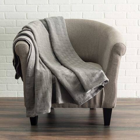 Copper Grove Vatutine Woven Cotton Throw Blanket with Basket Pattern
