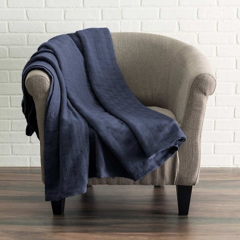 Kotter Home All Season Breathable Cotton Woven Throw Blanket - Basket Pattern