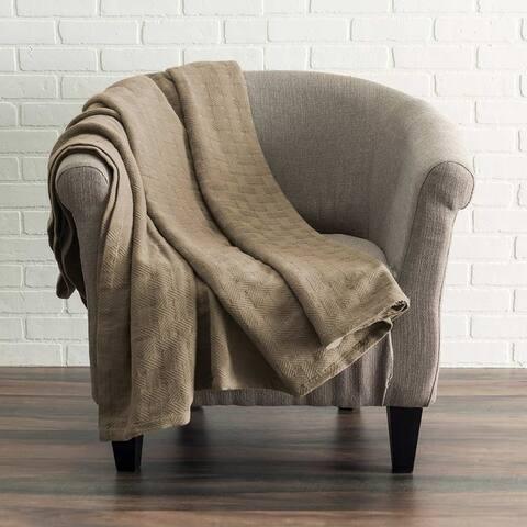 Kotter Home All Season Breathable Cotton Woven Throw Blanket - Basket Pattern