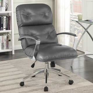 Grey Faux Leather Modern Adjustable Swivel Office Chair