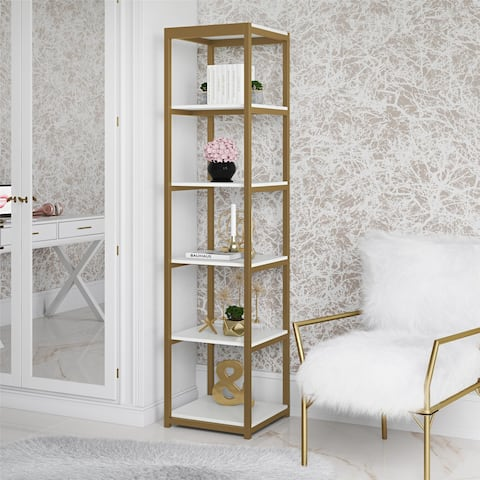 CosmoLiving Billie White/Goldtone Metal Bookcase Etagere