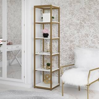 CosmoLiving Billie White/Goldtone Metal Bookcase Etagere