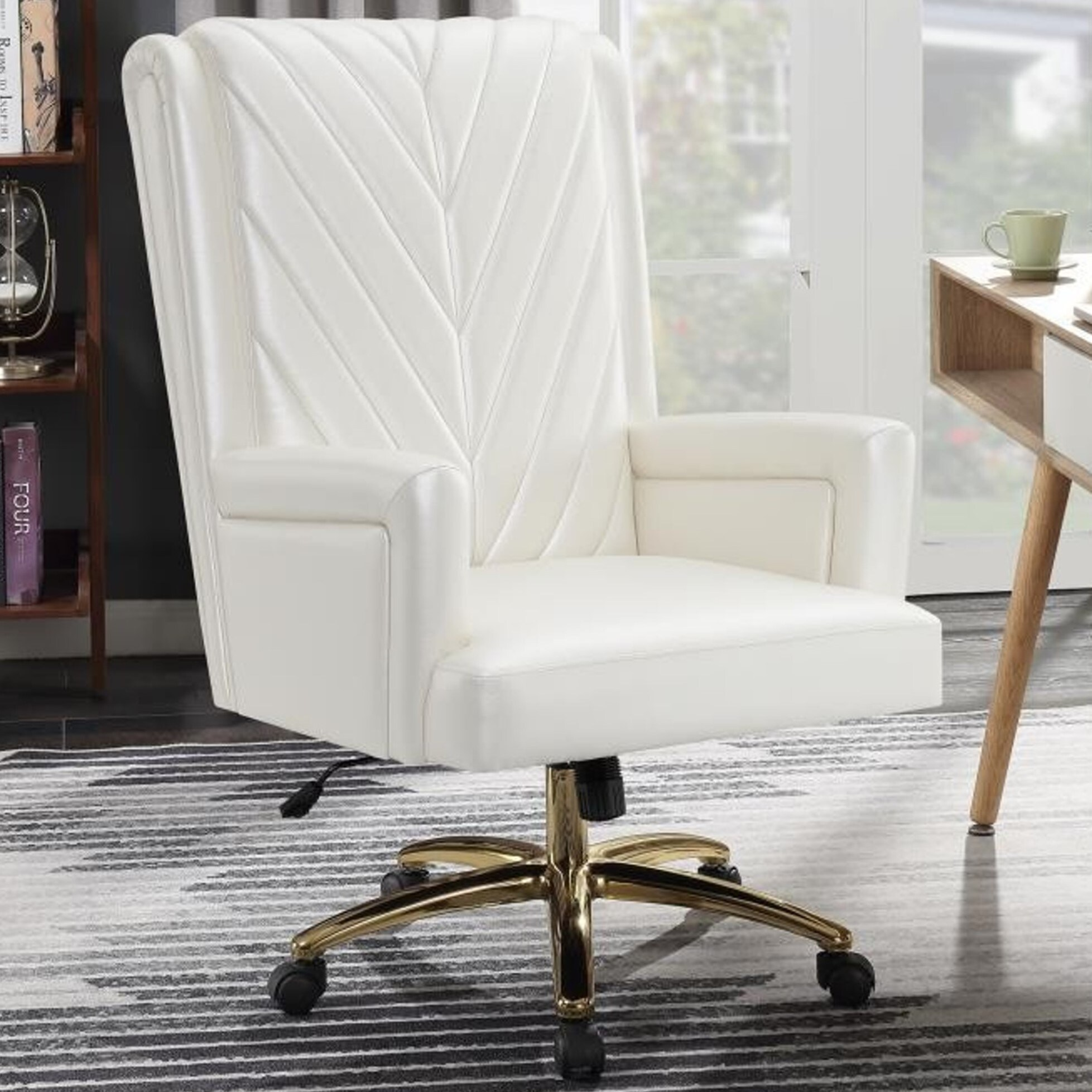 Plush Pearly White Executive Office Chair with Metal Brass Base