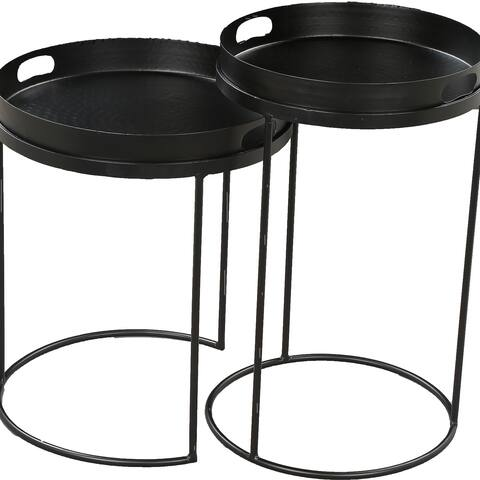 Renwil Fannie Powder Coated Matte Black Iron Outdoor Accent Table