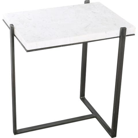 Renwil Hyder Grey/Black Marble/Aluminum Outdoor Accent Table