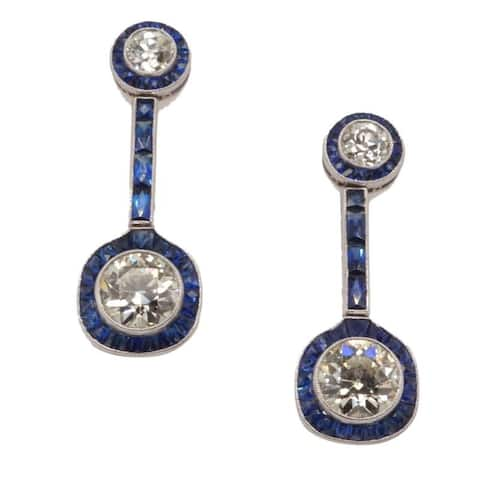 Platinum 5ct TDW Sapphire Estate Earrings (J-K,VS1-VS2)