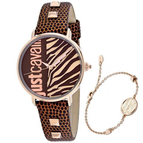 Just Cavalli Women's JC1L077L0045 'Zebra' Brown Leather Watch