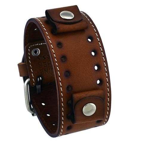 Nemesis Dark Single Stitched Leather Cuff Watch Band 20mm STH-B