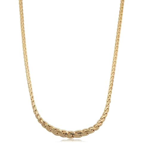 14k Yellow Gold Polished Graduated Swirl Necklace (16.75 inches)