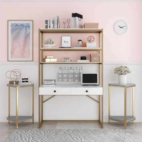 CosmoLiving Billie Metal Desk Etagere