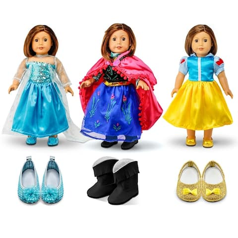 """Fits American Girl 18"""" Princess Dress 18 Inch Doll Clothes Costume Outfit Set with Shoes"""
