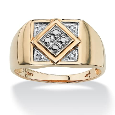 Men's 10K Yellow Gold Genuine Diamond Ring (1/10 cttw) ( I3 Clarity)